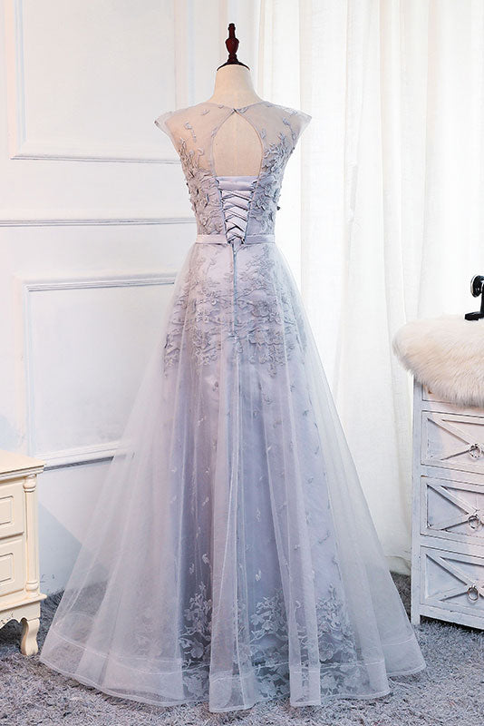 Gray round neck tulle lace applique long prom dress, gray evening dress