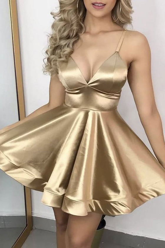Gold v neck satin short prom dress gold cocktail dress