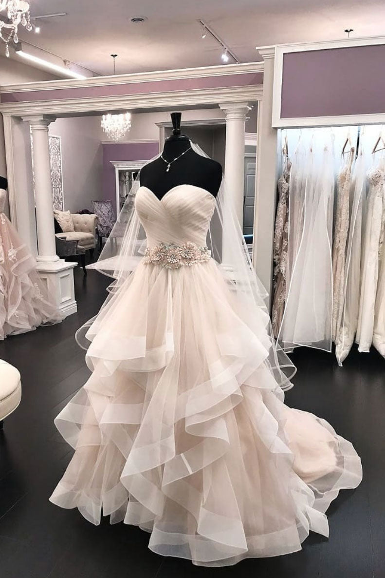 Light champagne tulle long prom dress, tulle wedding dress