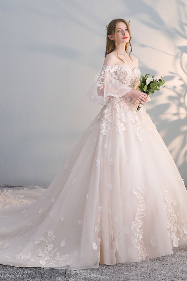 Light Champagne Tulle Lace Applique Long Prom Dress Champagne - Light Wedding Dress