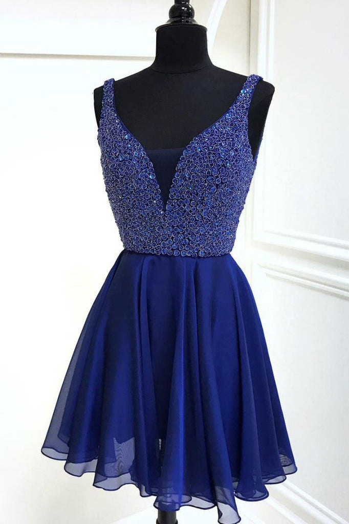 Blue v neck chiffon short prom dress, blue homecoming dress