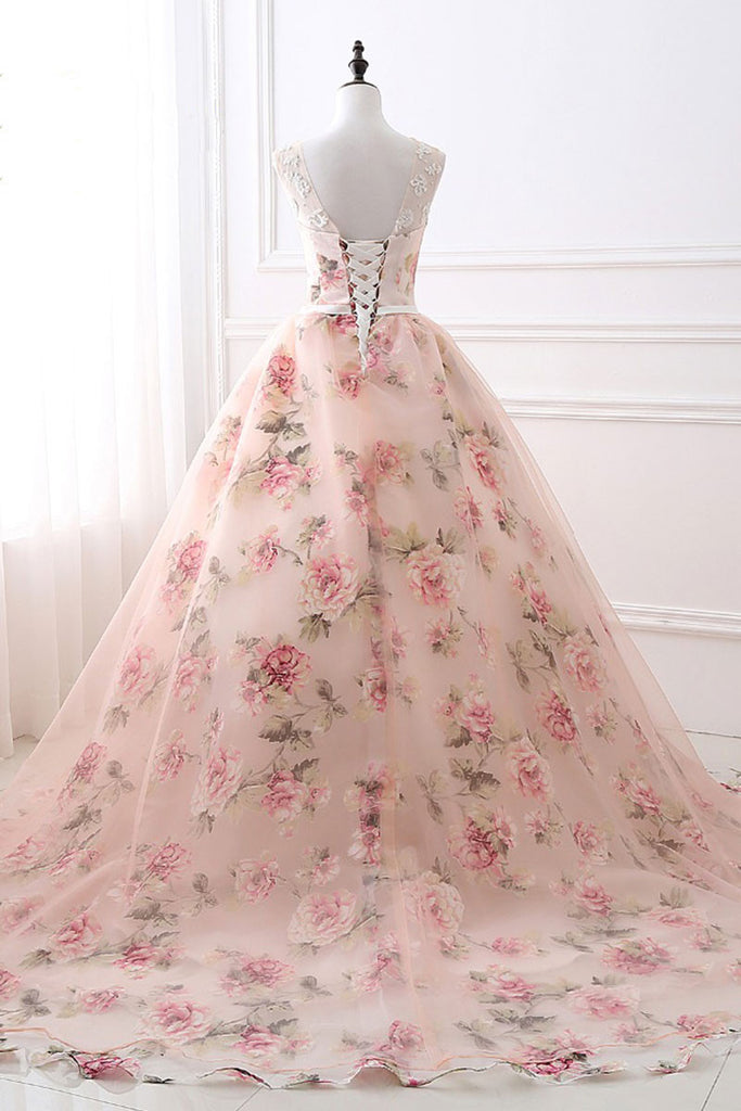 Unique round neck printing long prom gown, evening dress