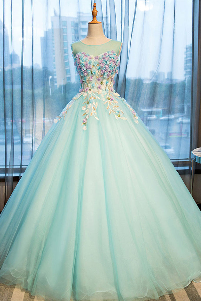 Green round neck long prom gown, green evening dress