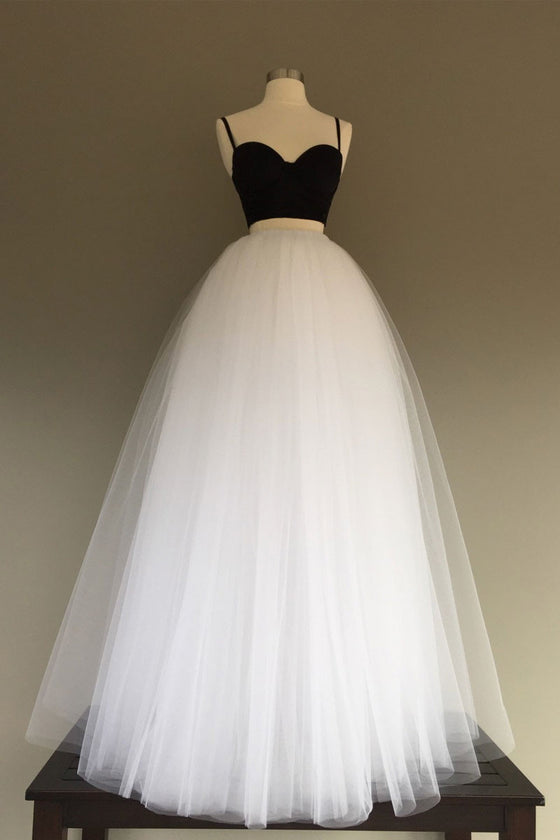 Simple white/black tulle two pieces long prom dress, evening dress
