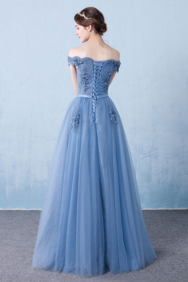 Blue off shoulder lace tulle long prom dress, blue lace bridesmaid dress