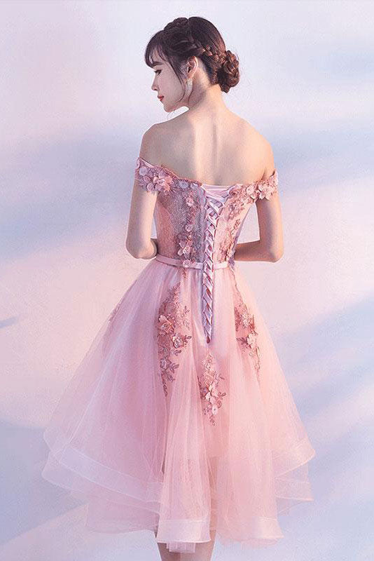 Cute pink tulle lace short prom dress, cute homecoming dress