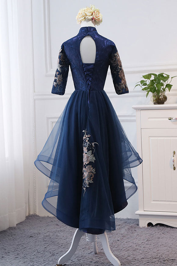 Dark blue lace applique short prom dress, blue evening dress