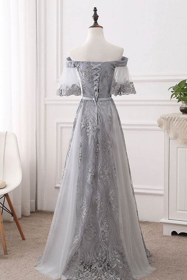 Gray tulle lace long prom dress gray bridesmaid dress dresstby gray tulle lace long prom dress gray bridesmaid dress junglespirit Choice Image