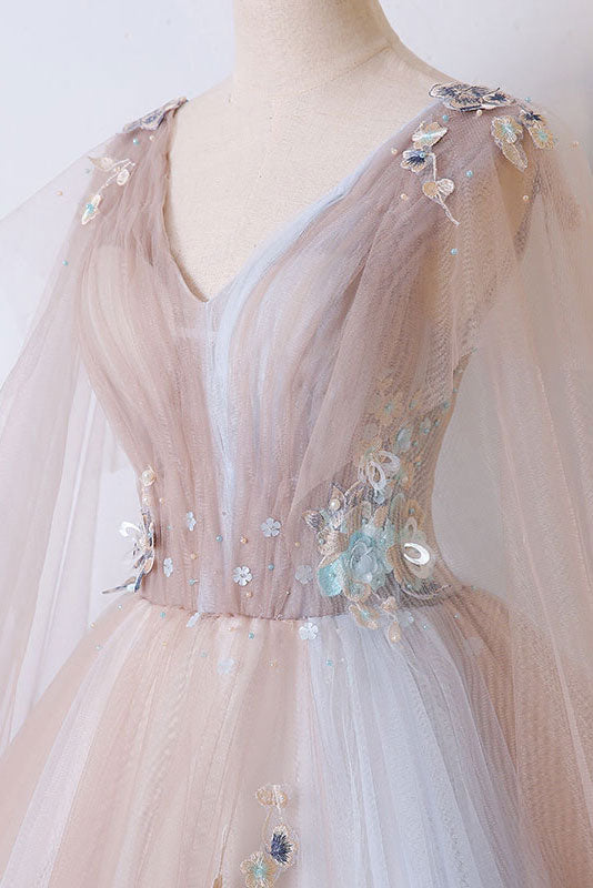 Champagne tulle long prom dress, champagne tulle evening dress
