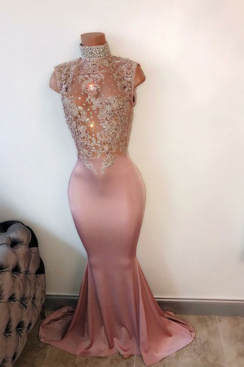 Pink High Neck Lace Sequin Mermaid Long Prom Dress Evening Dress