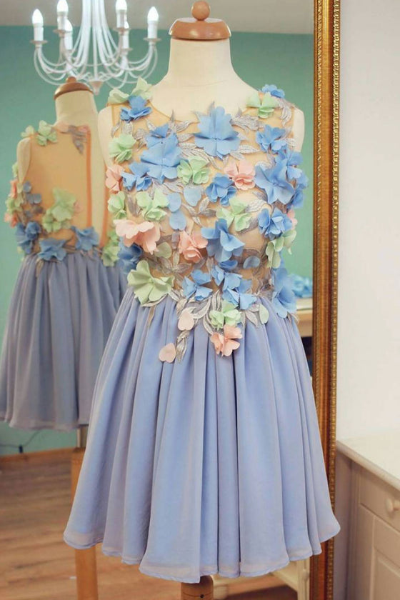 Blue round neck chiffon 3D applique short prom dress, blue homecoming dress