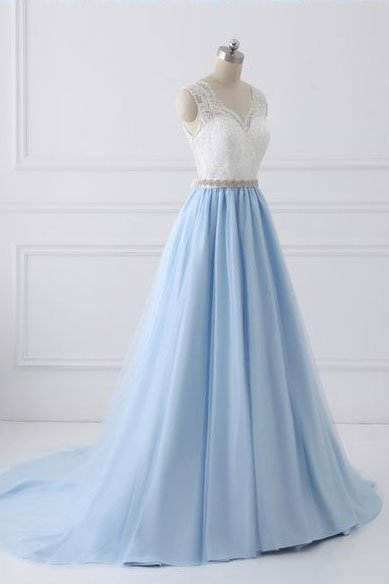 Blue lace tulle long prom dress, blue evening dress - dresstby