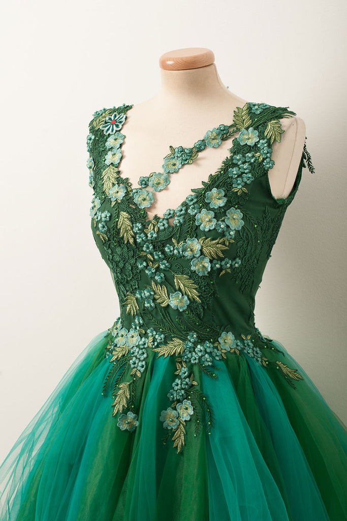 Unique v neck green tulle lace short prom dress, green homecoming dress