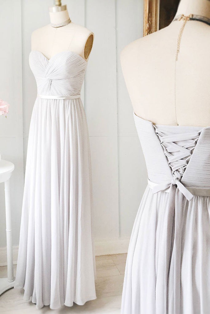 Gray sweetheart chiffon long prom  dress, gray evening dress