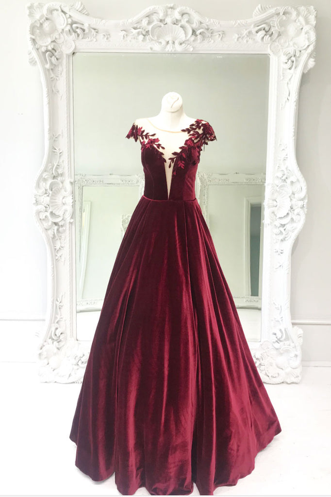 Simple burgundy lace long prom dress, burgundy evening dress