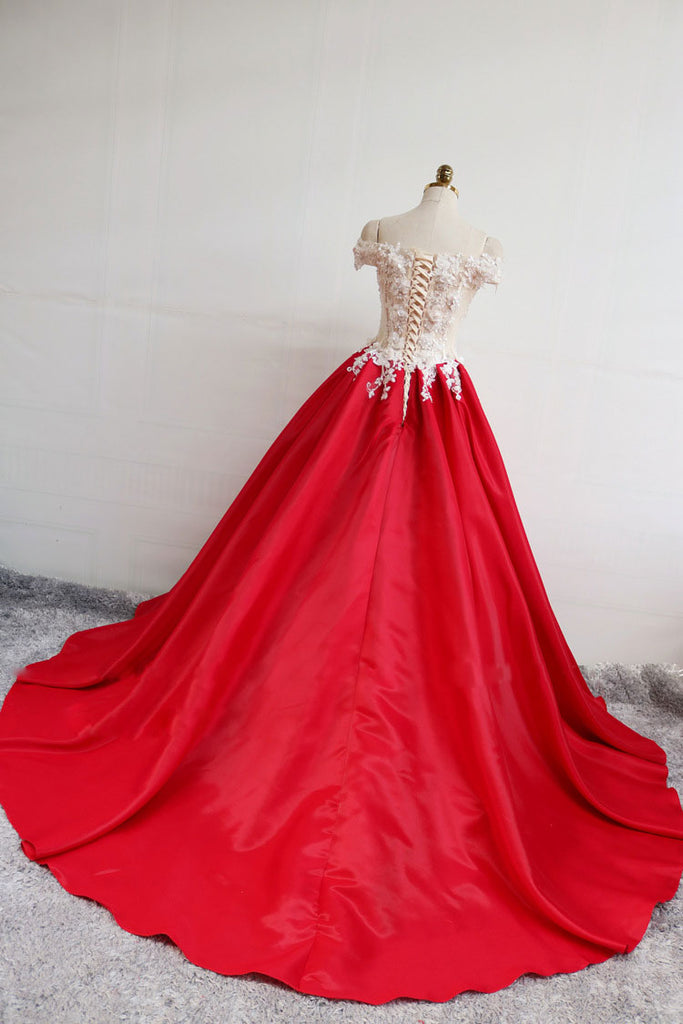 Red satin lace long prom dress, red evening dress