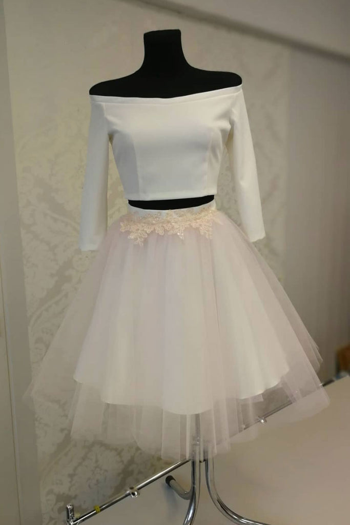 White two pieces short prom dress, tulle homecoming dress