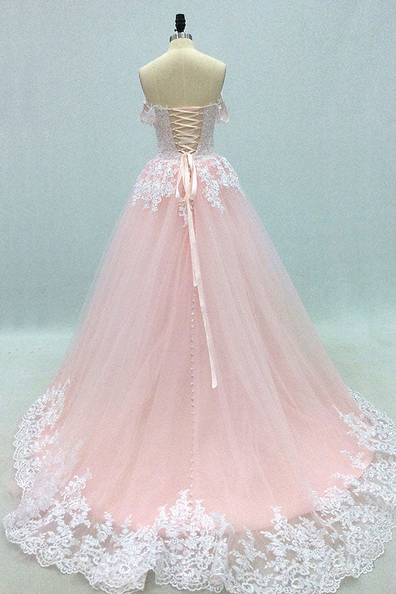 Pink sweetheart neck tulle lace long prom dress, pink tulle evening dress