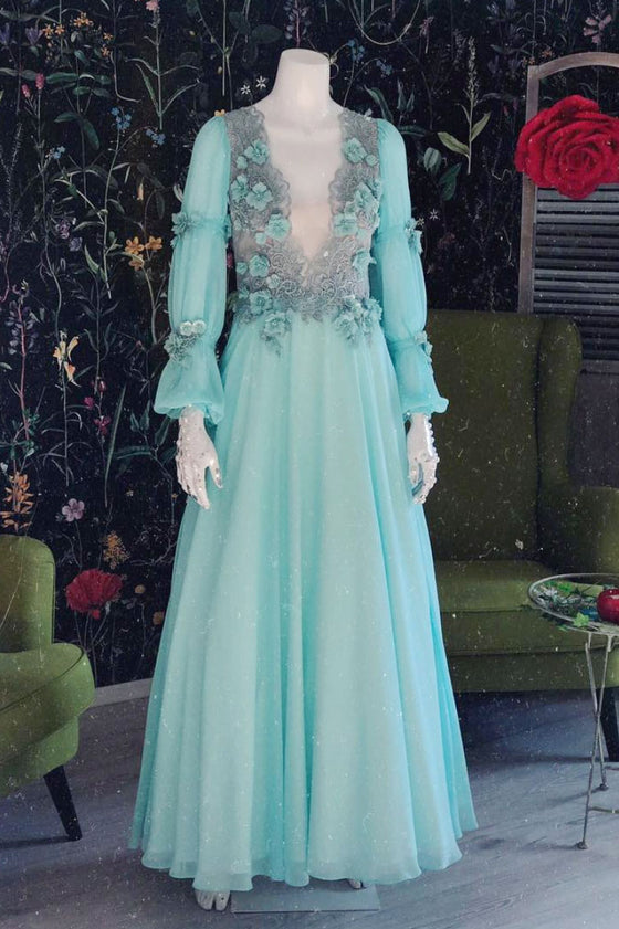 Green v neck chiffon lace long prom dress, green evening dress