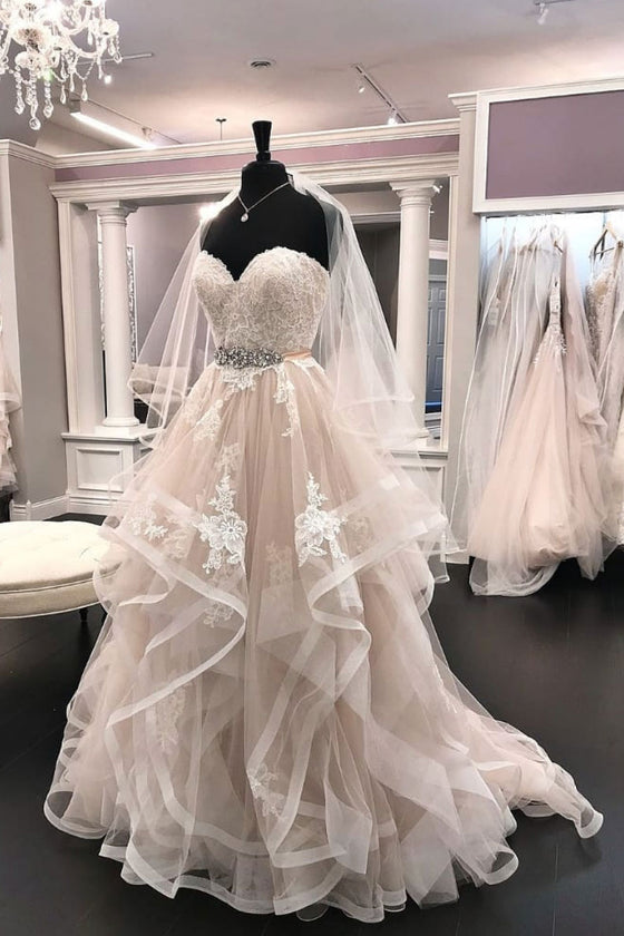 Light champagne tulle lace long prom dress, lace wedding dress