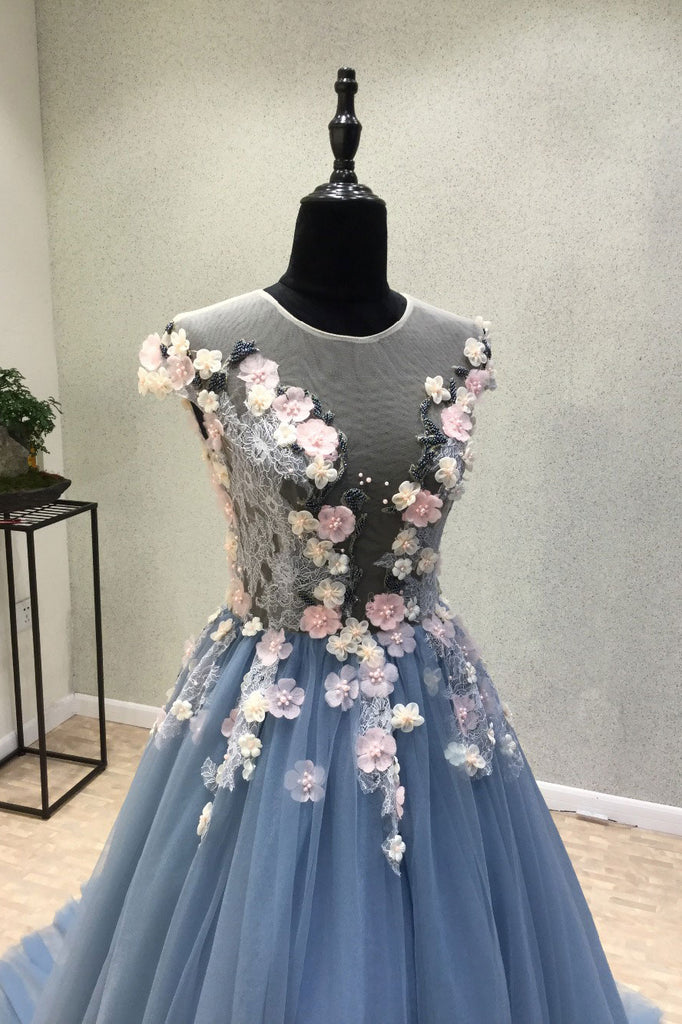Blue round neck tulle lace applique long prom dress, lace evening dress