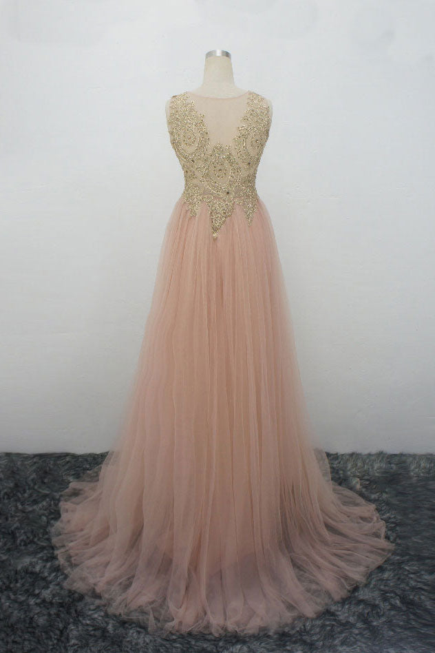 Champagne pink tulle gold lace applique long prom dress, evening dress