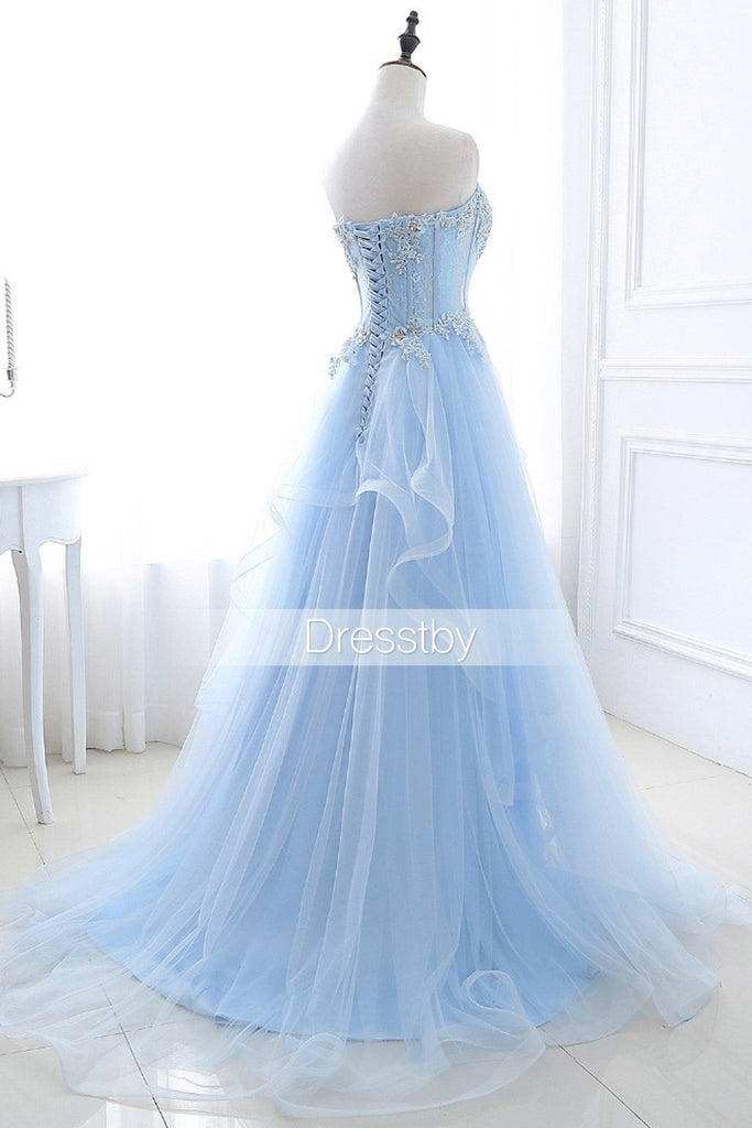 Blue sweetheart tulle long prom dress, blue evening dress