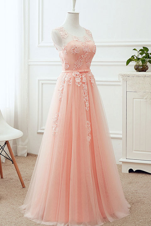 Pink round neck tulle lace applique long prom dress