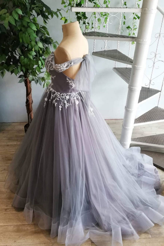 Gray tulle lace long prom dress, gray tulle lace formal dress