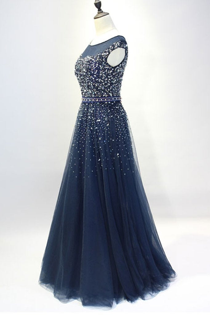 Dark blue round neck sequin tulle long prom dress, tulle evening dress