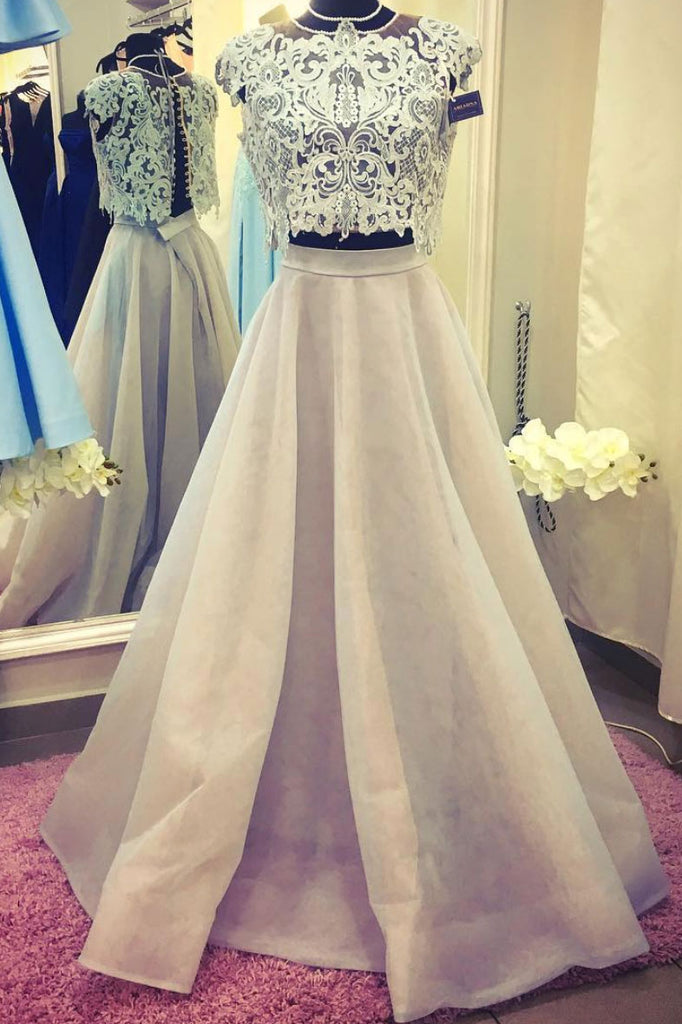 Unique champagne lace two pieces long prom dress, lace evening dress