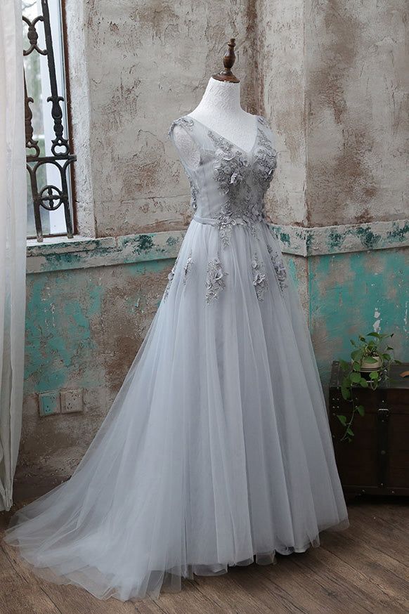 Gray v neck lace applique tulle long prom dress, gray evening dress