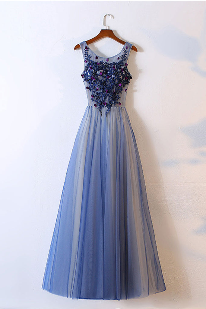 Blue tulle round neck long prom dress, tulle evening dress