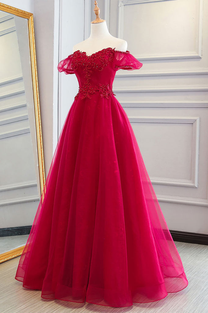 Red tulle long prom dress, ted tulle lace evening dress