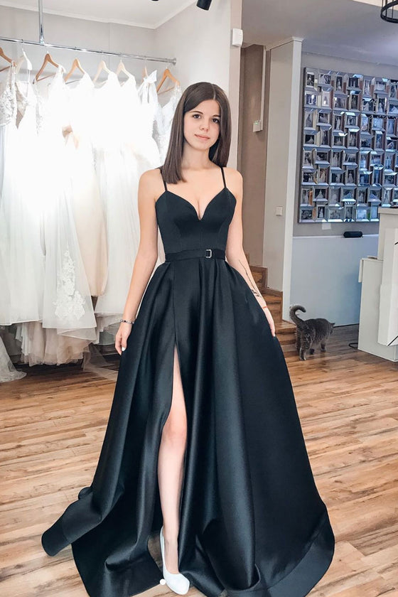 Black sweetheart satin long prom dress black evening dress