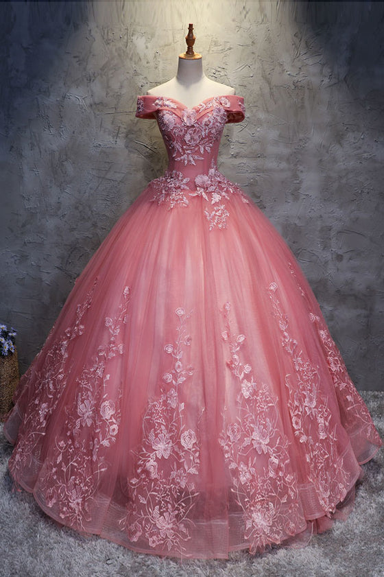 Pink sweetheart off shoulder lace tulle long prom gown sweet 16 dress