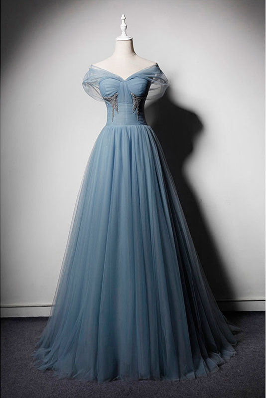 Blue tulle off shoulder long prom dress, blue tulle evening dress