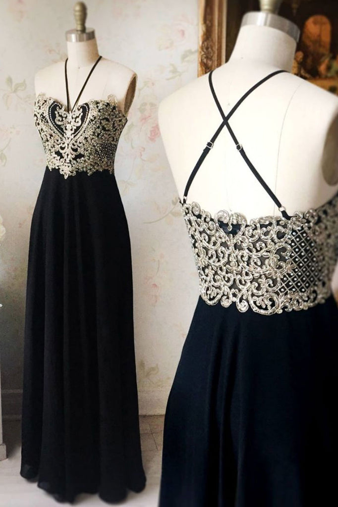 Black sweetheart lace applique long prom dress, black evening dress