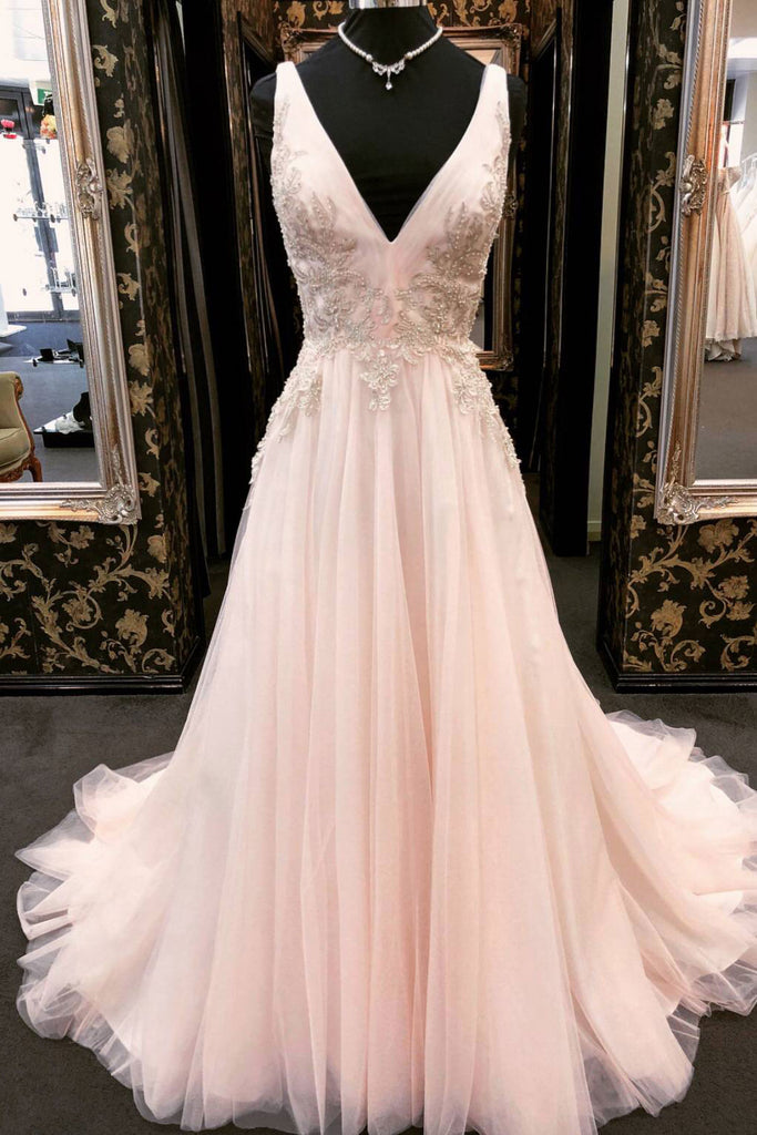 Unique v neck tulle lace applique long prom dress, pink evening dress