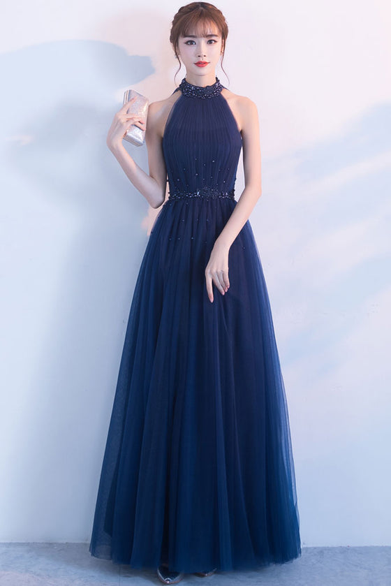 Dark blue tulle high neck long prom dress, dark blue bridesmaid dress