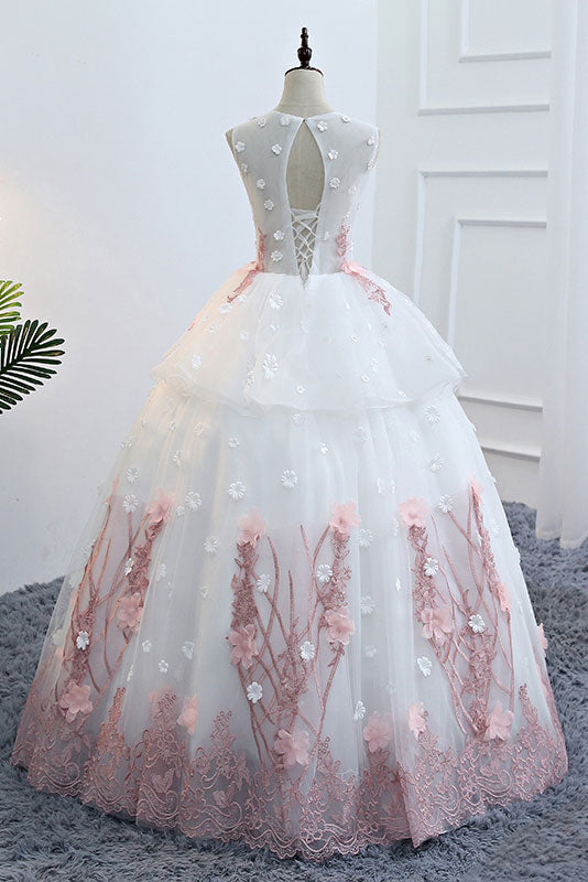 Cute white round neck lace applique long prom gown, evening dress ...