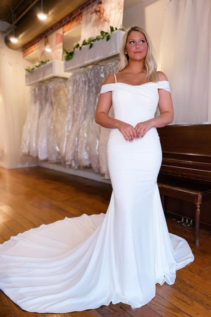 White satin mermaid long prom dress white evening dress