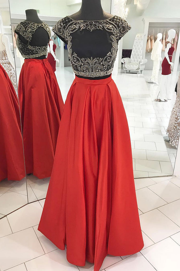 Red two pieces beads long prom dress, red evening dress