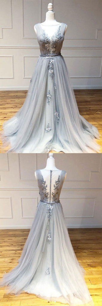 Gray v neck tulle lace long prom dress gray lace long evening dress