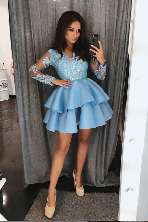 Blue lace satin short prom dress, blue homecoming dress