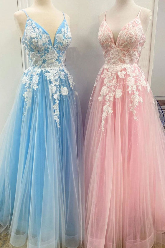 Blue tulle lace long prom dress tulle lace formal dress