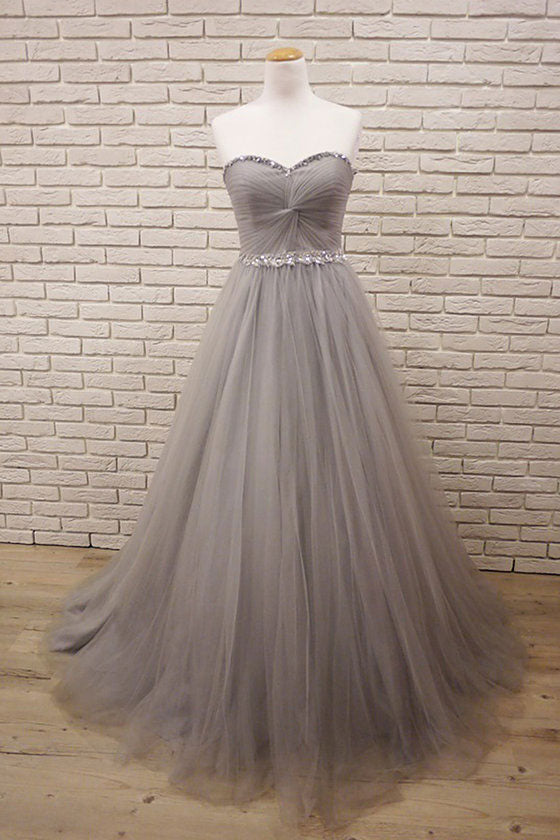 Gray sweetheart neck tulle long prom dress, gray evening dress