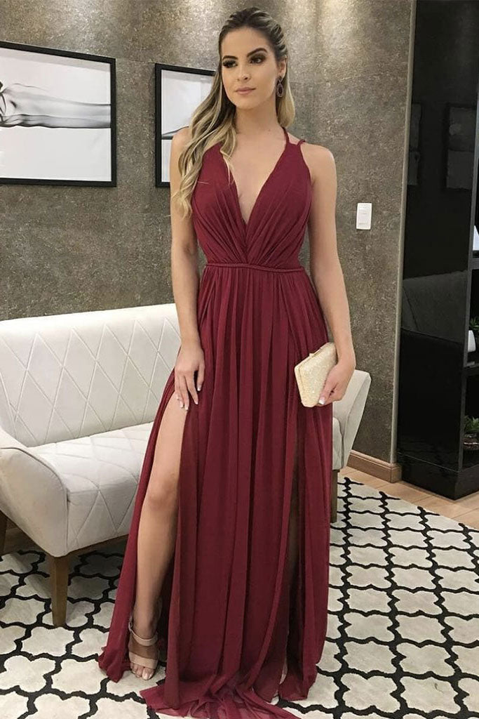 Simple v neck burgundy tulle long prom dress, formal dress
