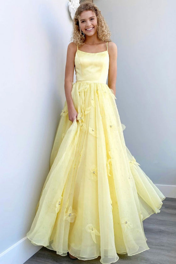 Yellow tulle long prom dress yellow formal dress