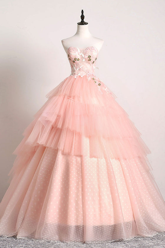 Pink sweetheart lace tulle long prom gown pink tulle formal dress